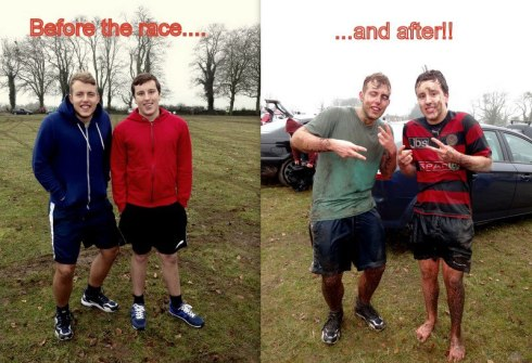 The boys before and after the race..poor Toby lost his shoes!!